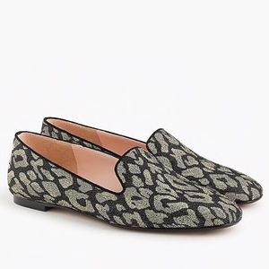 J. Crew Sparkle Leopard Smoking Loafers Flats NEW